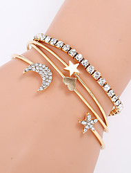 cheap -4pcs Women's Cubic Zirconia Bracelet Bangles Cuff Bracelet Earrings / Bracelet Layered Moon Heart Star Simple Classic Vintage Ethnic Fashion Alloy Bracelet Jewelry Gold / Silver For Daily School