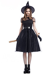 cheap -Witch Dress Cosplay Costume Adults' Women's Party / Evening Halloween Christmas Halloween Carnival Festival / Holiday Polyster Black Carnival Costumes Solid Colored Holiday Halloween