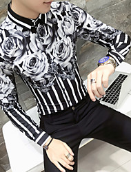 cheap -Men's Daily Basic EU / US Size Slim Shirt - Floral White / Long Sleeve