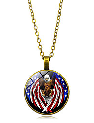 cheap -Women's Pendant Necklace American flag Eagle Flag Patriotic Jewelry European Trendy Casual / Sporty Glass Chrome Black Gold Silver 45+5 cm Necklace Jewelry 1pc For Gift Daily Festival