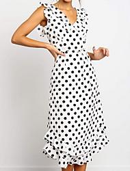 cheap -Women's Basic A Line Dress - Polka Dot Patchwork V Neck Cotton Black White S M L XL