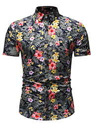 cheap -Men's Daily Wear Shirt - Floral Black / Short Sleeve