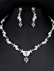 cheap -Women's White Bridal Jewelry Sets Link / Chain Heart Stylish Unique Design Elegant Rhinestone Earrings Jewelry Silver For Christmas Wedding Party Engagement Gift 1 set