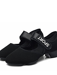 cheap -Women's Dance Shoes Canvas Dance Sneakers Sneaker Thick Heel Customizable Black / Performance / Practice