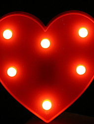 cheap -1pc LED Night Light Red Heart Shaped Warm White AA Batteries Powered Creative <5 V