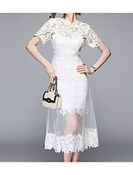 cheap -Women's Lace White Dress Vintage Street chic Summer Party Daily A Line Floral Geometric Solid Colored Petal Sleeves Lace Cut Out Tassel Fringe S M Slim High Waist