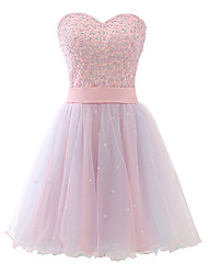 cheap -A-Line Sweetheart Neckline Short / Mini Tulle Cute / Elegant Cocktail Party Dress 2020 with Beading / Sequin