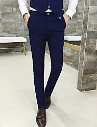 abordables -Homme Basique Costume / Chino Pantalon - Couleur Pleine Noir Violet Gris Foncé M L XL
