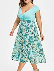 cheap -Women's Plus Size Blushing Pink Black Dress Summer Daily Floral Deep V Print XL XXL