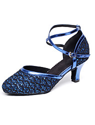 cheap -Women's Modern Shoes / Ballroom Shoes Synthetics Ankle Strap Heel Glitter / Paillette Flared Heel Customizable Dance Shoes Gold / Silver / Blue / Performance / Practice