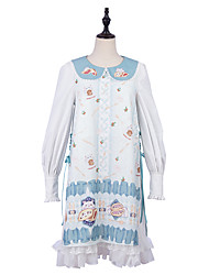 cheap -Patterned Lace Up Cute Dress Blouse / Shirt All Velvet Chiffon Japanese Cosplay Costumes Light Blue Print Animal Lace Bishop Sleeve Long Sleeve Midi Knee Length