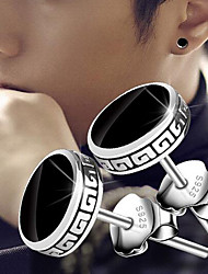 cheap -Men's Stud Earrings Magic Back Earring Vintage Style Vintage Rock Silver Plated Earrings Jewelry Black For Street Daily 1 Pair