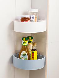 cheap -Bathroom Shelves Wall Suction Fan Corner Kitchen Bathroom Shelf Storage Rack