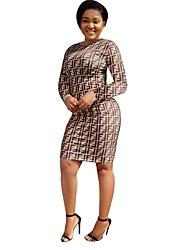 cheap -Women's Basic Loose Bodycon Sheath Dress - Geometric Print Rainbow Khaki S M L XL