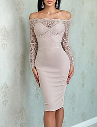 cheap -Sheath / Column Off Shoulder Knee Length Jersey Bridesmaid Dress with Lace