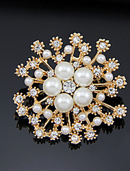 cheap -Women's Brooches Hollow Out Flower Stylish Imitation Pearl Gold Plated Brooch Jewelry Gold For Party Daily