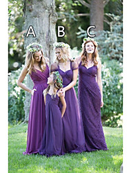 cheap -A-Line Halter Neck / Spaghetti Strap Floor Length Chiffon / Lace Bridesmaid Dress with Lace / Criss Cross / Ruching
