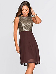 cheap -Women's Party Homecoming Elegant A Line Dress - Solid Colored Sequins Black Light Brown Red S M L XL