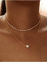 cheap -Women's Choker Necklace Necklace Tennis Chain Elegant European Sweet Fashion Imitation Pearl Chrome Gold Silver 30 cm Necklace Jewelry 1pc For Gift Daily Holiday Work Festival / Layered Necklace