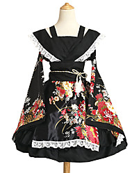 cheap -Inspired by Cosplay Maid Costume Anime Cosplay Costumes Japanese Cosplay Suits Kimono Patchwork Flower Long Sleeve Dress Bow Waist Belt For Women's / Sash / Ribbon / Sash / Ribbon