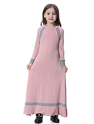 cheap -Kids Girls' Dusty Rose Solid Colored Striped Long Sleeve Maxi Dress Red