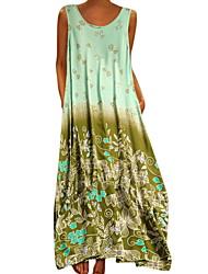 cheap -Women's Maxi Wine Purple Dress Basic A Line Floral Strap Patchwork L XL Loose