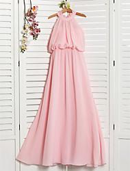 cheap -A-Line High Neck Floor Length Chiffon Junior Bridesmaid Dress with Ruffles / Ruching