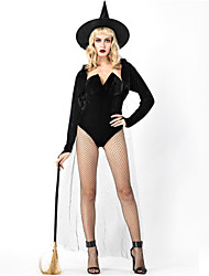 cheap -Witch Cosplay Costume Masquerade Adults' Women's One Piece Halloween Christmas Halloween Carnival Festival / Holiday Polyster Black Carnival Costumes Solid Color Holiday Halloween