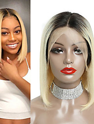 cheap -Human Hair 13x6 Closure Lace Front Wig Bob Middle Part style Brazilian Hair Straight Golden Wig 130% Density Women Best Quality New New Arrival Hot Sale Women's Short Wig Accessories Human Hair Lace
