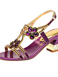 cheap -Women's Sandals Flat Sandals Summer Flare Heel Open Toe Casual Comfort Daily Beach Rhinestone Solid Colored Microfiber Walking Shoes Purple / Gold / Blue