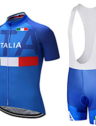 cheap -21Grams Italy National Flag Men's Short Sleeve Cycling Jersey with Bib Shorts - Blue / White Bike Clothing Suit Breathable Moisture Wicking Quick Dry Sports Terylene Polyester Taffeta Mountain Bike