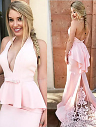 cheap -Mermaid / Trumpet Halter Neck Sweep / Brush Train Lace / Satin Bridesmaid Dress with Appliques / Ruffles / Open Back
