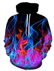 cheap -Men's Plus Size Hoodie Color Block 3D Hooded Casual Street chic Hoodies Sweatshirts  Slim Black