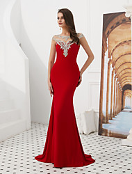 cheap -Mermaid / Trumpet Jewel Neck Sweep / Brush Train Satin Elegant & Luxurious / Vintage Inspired Formal Evening / Black Tie Gala Dress with Beading / Crystals 2020