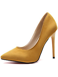 cheap -Women's Heels Stiletto Heel Pointed Toe Suede Minimalism Spring & Summer / Fall & Winter Black / Yellow / Burgundy