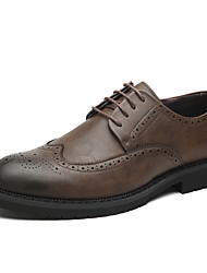 cheap -Men's Leather Shoes Leather Spring & Summer British Oxfords Wear Proof Black / Light Green / Brown / Party & Evening / Party & Evening