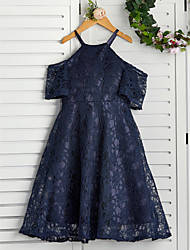 cheap -A-Line Halter Neck Knee Length Lace Junior Bridesmaid Dress with Lace