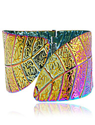 cheap -Women's Cuff Bracelet Geometrical Leaf Happy Fashion Alloy Bracelet Jewelry Gold / Silver / Rainbow For Gift Daily