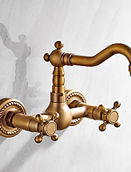 cheap -Bathroom Sink Faucet - Widespread Antique Brass Wall Mounted Two Handles Two HolesBath Taps