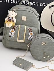 cheap -Women's PU(Polyurethane) / PU Bag Set 3 Pcs Purse Set Black / Blushing Pink / Gray