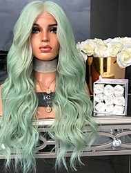 cheap -Synthetic Wig Body Wave Asymmetrical Wig Long Mint Green Synthetic Hair 27 inch Women's Green