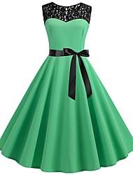 cheap -Women's Skater Dress Light Green Wine Light Blue L XL XXL