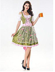 cheap -Country Girl Costume Women's Holiday Cosplay Costumes Theme Party Costumes Women's Dance Costumes Polyster Split Joint Bavarain