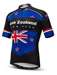 abordables -21Grams Nouvelle-Zélande Drapeau National Homme Manches Courtes Maillot Velo Cyclisme - Bleu / Noir Vélo Hauts / Top Résistant aux UV Respirable Evacuation de l'humidité Des sports Térylène VTT Vélo