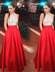 cheap -A-Line Sparkle Red Prom Formal Evening Dress Halter Neck Sleeveless Floor Length Satin Sequined with Crystals Sequin 2020
