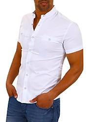 Недорогие -Муж. Рубашка Классический / Элегантный стиль Однотонный Белый