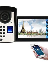 Недорогие -618fd11 7-дюймовый емкостный сенсорный экран видеокамеры проводной видео дверной звонок WiFi / 3G / 4G удаленного вызова / отпечатков пальцев / пароль / пульт дистанционного управления разблокировать