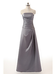 cheap -A-Line Strapless Floor Length Satin Bridesmaid Dress with Ruching