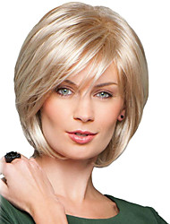 cheap -Human Hair Blend Wig Medium Length Straight Natural Wave Bob Pixie Cut Layered Haircut Asymmetrical Blonde Life Easy dressing Comfortable Capless Women's All Natural Black Beige Blonde / Bleached