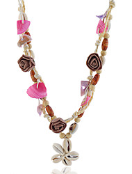 cheap -Women's Multicolor Pendant Necklace Statement Necklace Beaded Necklace Beads Flower Shell Artistic Romantic Ethnic Boho Shell Red / White 63 cm Necklace Jewelry 1pc For Carnival Street Holiday Club
